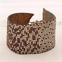 Beaded wristband bracelet, 'Mahogany Romance' - Brown Glass Beaded Wide Wristband Bracelet Guatemala