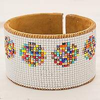 Glass beaded leather cuff bracelet, 'Festive Santiago' - Glass Beaded Cuff Bracelet with Leather from Guatemala
