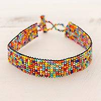 Beaded wristband bracelet, 'Multicolored Happiness' - Multicolored Glass Beaded Wristband Bracelet from Guatemala