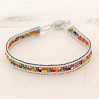 Beaded wristband bracelet, 'Joyful Santiago' - Glass Beaded Wristband Bracelet from Guatemala