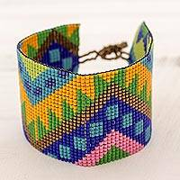 Beaded wristband bracelet, 'Vivacious Chichicastenango' - Wide Glass Beaded Wristband Bracelet from Guatemala