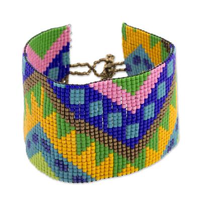 Wide Glass Beaded Wristband Bracelet from Guatemala