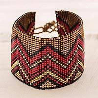 Beaded wristband bracelet, 'Sophisticated Chichicastenango' - Red and Bronze Glass Bead Wristband Bracelet from Guatemala