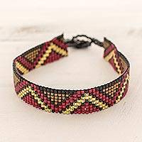 Beaded wristband bracelet, 'Vibrant Chichicastenango' - Red Bronze Thin Glass Bead Wristband Bracelet from Guatemala