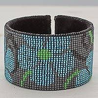 Glass beaded leather cuff bracelet, 'Blue Maya Blossoms' - Glass Beaded Blue Floral Cuff Bracelet from Guatemala