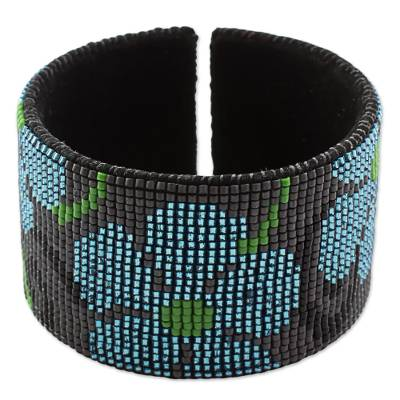 Glass Beaded Blue Floral Cuff Bracelet from Guatemala