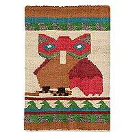 Wool area rug, 'Mayan Owl' - Hand Woven Wool Area Rug Multicolored Owl from Guatemala