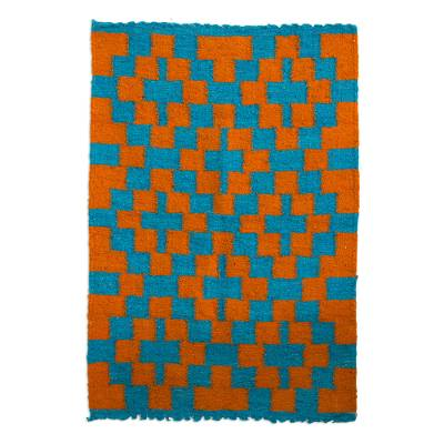 Wool area rug, 'Sunrise Path' - Cerulean Sunrise Hand Woven Wool Area Rug from Guatemala