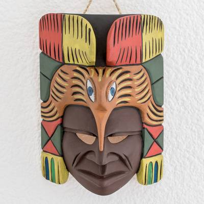 Wood mask, 'Enchanted Quetzal' - Handmade Mayan Wood Wall Mask with Guatemalan Quetzal Bird