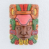 Wood wall mask, 'Mayan King' - Hand Carved Painted Mayan Wood Wall Mask from Guatemala