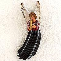 Ceramic wall sculpture, 'Angel of Santa Cruz' - Ceramic Wall Sculpture of an Angel in a Black Dress