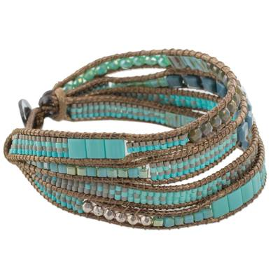 Hand Made Glass Bead Wristband Bracelet Blue from Guatemala