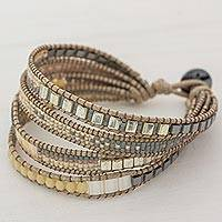 Featured review for Glass beaded wristband bracelet, Champagne Bubbles