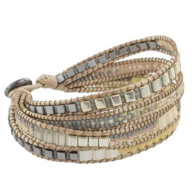 Hand Made Glass Bead Wristband Bracelet Beige from Guatemala