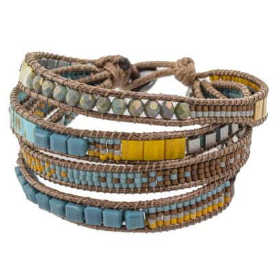 Multicolored Glass Beaded Wristband Bracelet from Guatemala