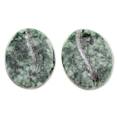 Jade and Sterling Silver Stud Earrings from Guatemala