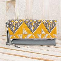 Cotton and leather wristlet, 'Textile Fantasy' - Hand Woven Cotton and Leather Wristlet in Honey and Slate