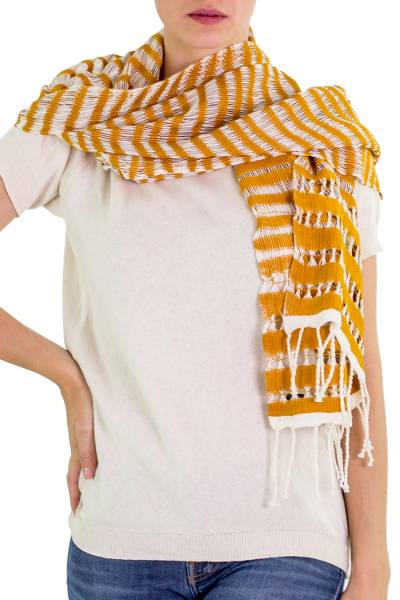 Cotton scarf, 'Amber Roads Found' - Hand Woven Striped Cotton Scarf in Eggshell and Amber