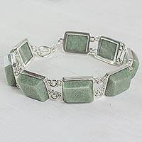 Jade link bracelet, 'Maya Treasure in Light Green' - Sterling Silver and Pale Green Jade Link Bracelet