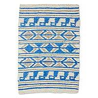 Wool area rug, 'Cerulean Dimension' - Hand Woven Ivory Cerulean Wool Area Rug from Guatemala