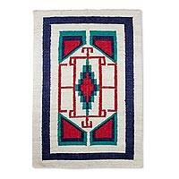 Wool area rug, 'Central Star' - Hand Made Geometric Pattern Wool Area Rug from Guatemala
