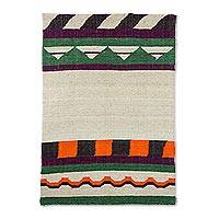 Wool area rug, 'Mother Mountain' - Guatemalan Multicolored Geometric Hand Made Wool Area Rug