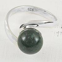 Jade single stone ring, 'Mayan Planet' - Handcrafted Guatemalan Jade and Sterling Silver Ring