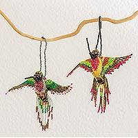 Glass beaded ornaments, 'Hummingbirds' (pair) - Pair of Handmade Glass Beaded Hummingbird Ornaments