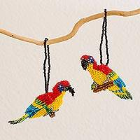 Glass beaded ornaments, 'Parrots' (pair) (Guatemala)