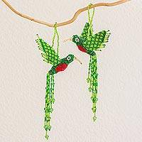Glass beaded ornaments, 'Radiant Quetzal' (pair) - Pair of Handmade Glass Bead Quetzal Ornaments from Guatemala