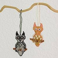 Glass beaded ornaments, 'Owl Amigos' (pair) - Two Hand Crafted Glass Beaded Owl Ornaments from Guatemala