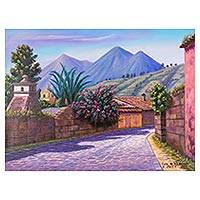 'Las Animas Street in Antigua' - Original Signed Painting of Antigua Guatemala in Blue Tones
