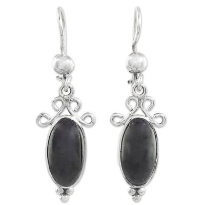 Black Guatemalan Jade and Sterling Silver Dangle Earrings