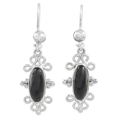 Ornate Silver Dangle Earrings with Black Guatemalan Jade