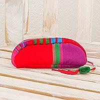 Cotton cosmetic bag, 'Happy Days in Red' - Striped Woven Multicolor Cotton Cosmetic Bag from Guatemala