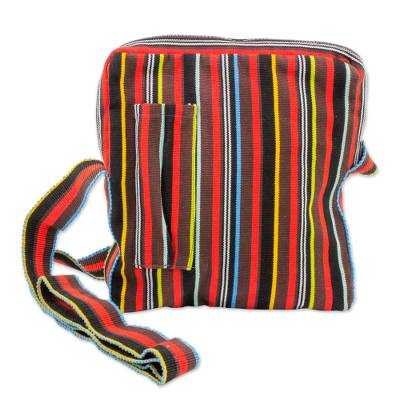 Colorful Striped Woven Shoulder Bag from Guatemala