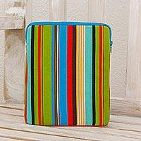 Cotton iPad case, 'Flashes of Color' - Striped Woven Multicolor Cotton iPad Case