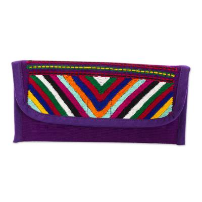 Hand Woven Guatemalan Aubergine Cotton Wallet and Coin Purse