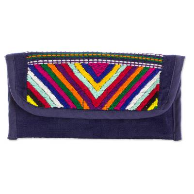 Hand Woven Guatemalan Navy Blue Cotton Wallet and Coin Purse