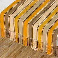 Cotton table runner, 'Honey Wings' - Cotton Table Runner in Honey and Khaki from Guatemala