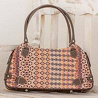 Leather accent cotton shoulder bag, 'Geometric Imagination' - Cotton and Espresso Leather Shoulder Handbag from Guatemala