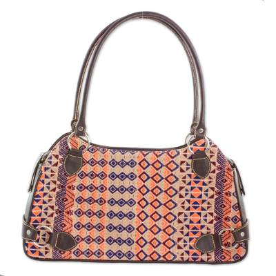 Cotton and Espresso Leather Shoulder Handbag from Guatemala