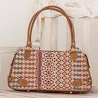 Leather accent cotton shoulder bag, 'Geometric Beauty' - Chestnut Leather Cotton Shoulder Handbag from Guatemala