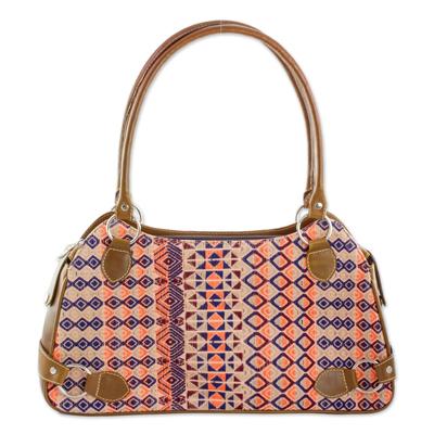Chestnut Leather Cotton Shoulder Handbag from Guatemala