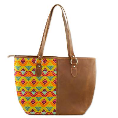 Hand Woven Cotton and Leather Tote Handbag Guatemala