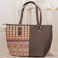Leather and cotton tote handbag, 'Geometric Imagination' - Espresso Leather and Cotton Tote Handbag from Guatemala