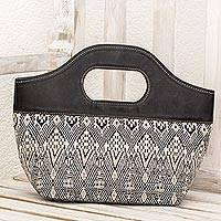 Leather accent cotton handle handbag, 'Black Kaleidoscope' - Black and Ivory Cotton and Leather Handle Handbag Guatemala