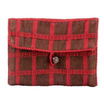 Cotton jewelry roll, 'Coffee Fields' - Hand Woven Cotton Jewelry Roll in Espresso Claret Guatemala