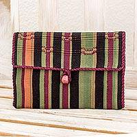 Cotton jewelry roll, 'Fertile Land' - Hand Woven Cotton Jewelry Roll in Maroon Olive Guatemala