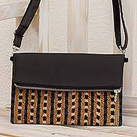 Leather convertible sling clutch, 'Nocturnal Brilliance' - Leather Convertible Sling Bag with Handwoven Cotton Inset